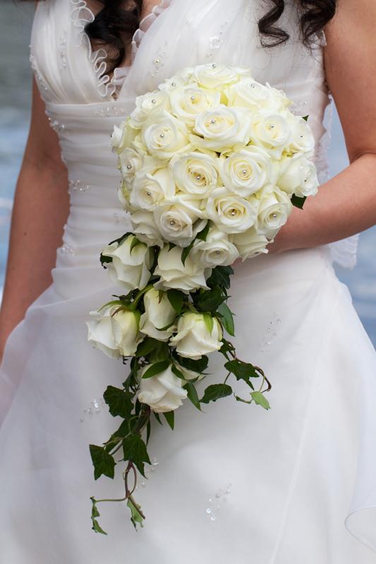 brudbukett blå hortensia